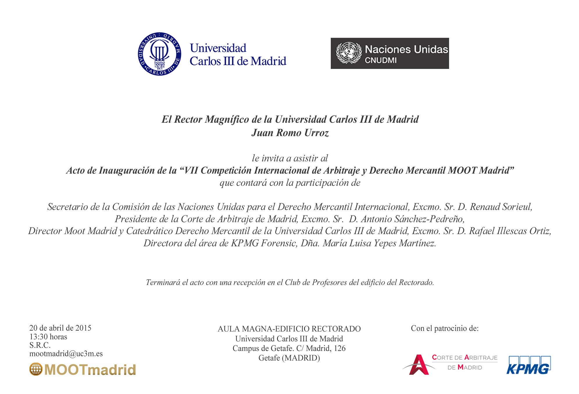 Acto inauguración Moot Madrid (20 abril 2015)